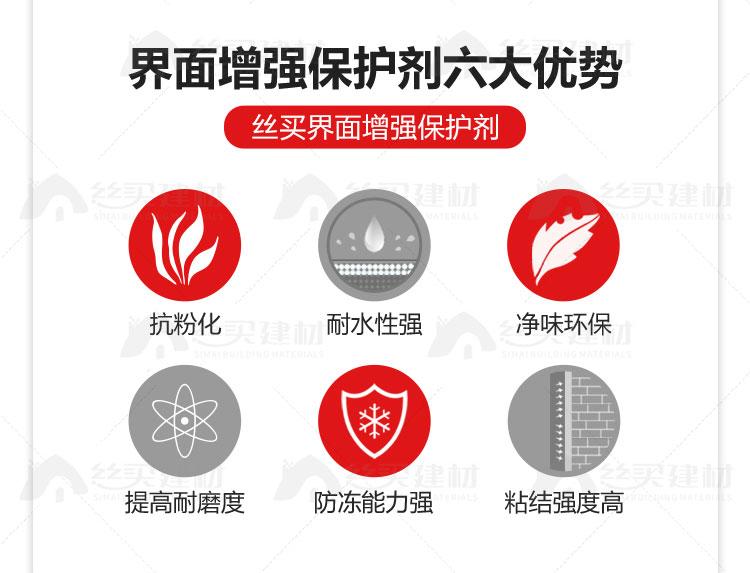 界面增强保护剂六大优势 丝买界面增强保护剂 抗粉化 耐水性强 净味环保 提高耐磨度 防冻能力强 粘结强度高