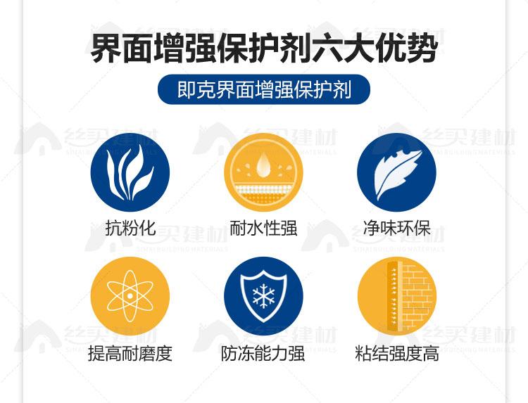 界面增强保护剂六大优势 即克界面增强保护剂 抗粉化 耐水性强 净味环保 提高耐磨度 防冻能力强 粘结强度高