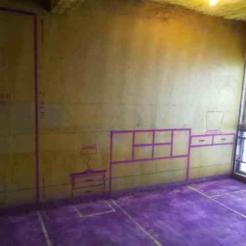 富世广场-黄墙紫地/3D全景放样-山水装饰