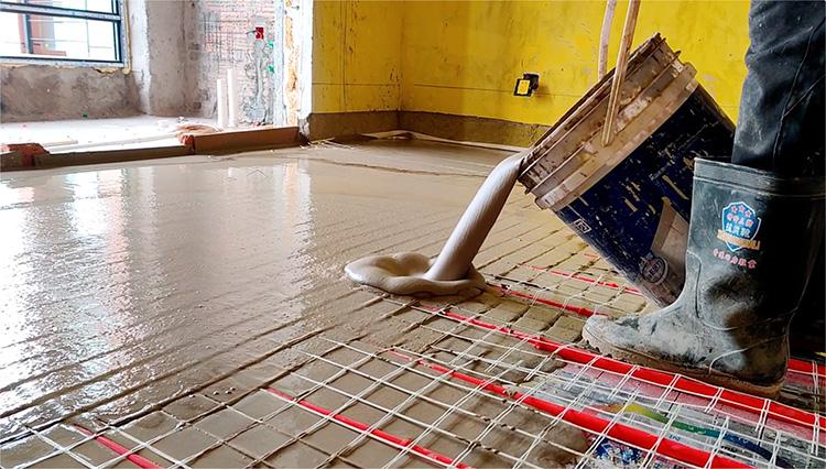 江苏地暖回填找平砂浆 盐城石膏基自流平地暖回填材料 高流动性高保 地面工程基层找平砂浆 丝买