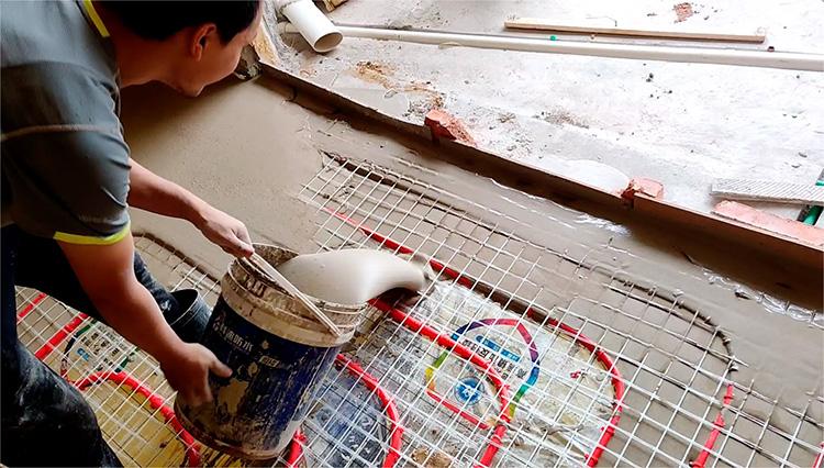 河南地面找平地暖回填砂浆 信阳地暖回填找平材料 高流动性地面工程基层找平砂浆 安徽丝买石膏基自流平