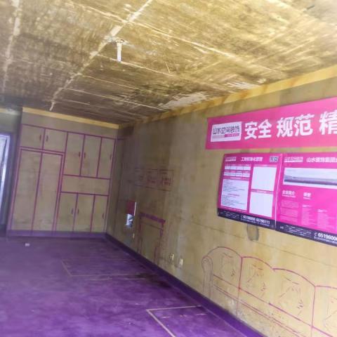 橡树湾45-303-黄墙紫地/3D全景放样-山水装饰